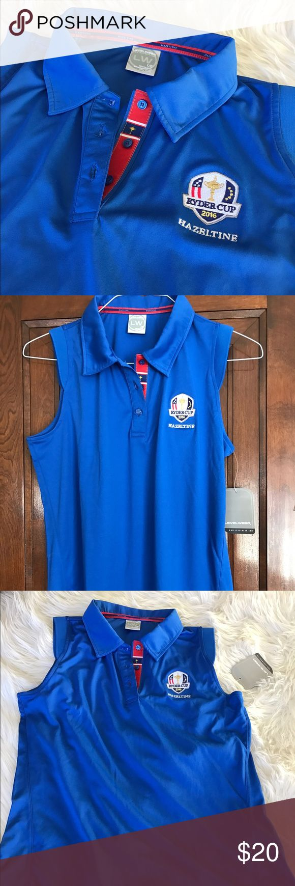 Sleeveless Ryder Cup Golf Polo Authentic apparel from the 2016 Ryder Cup at Hazeltine National Golf Club!  Sleeveless polo with capped detail at shoulders.  100% polyester. Machine wash cold. Tumble dry low. Levelwear Tops