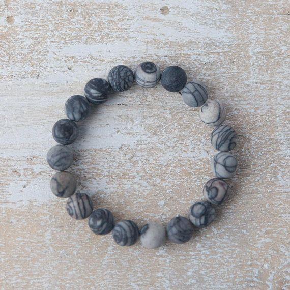 Boyfriend bracelet /  gift for him under 50 / Grey gemstone