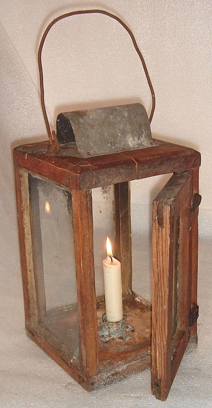 1860 Lovely Primitive Original Antique Wood Tin Lantern ...
