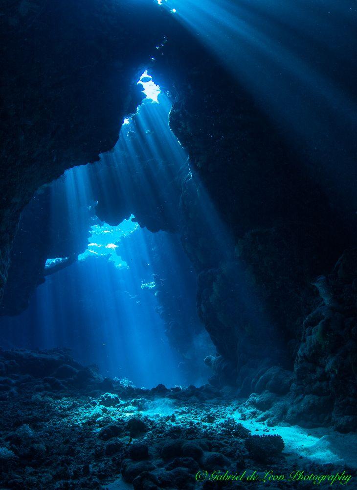 """Serenity"" Magical lighting penetrates underwater cavern... St.John's Reef"