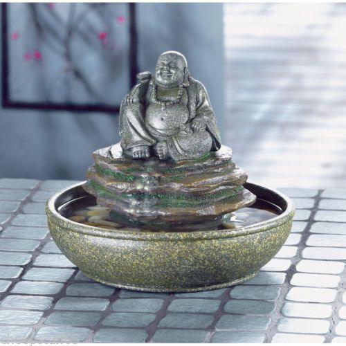 Feng Shui Laughing Buddha Fountain Indoor Outdoor Table