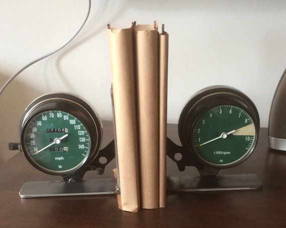 These unique industrial bookends will make a great gift for the gear head in your life. They are made from vintage Honda motorcycle gauge