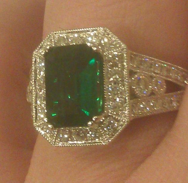 My Emerald Engagement Ring.    Colombian Origin, One of a Kind     Brandon's Birthstone: Emerald    My Birthstone: Diamond