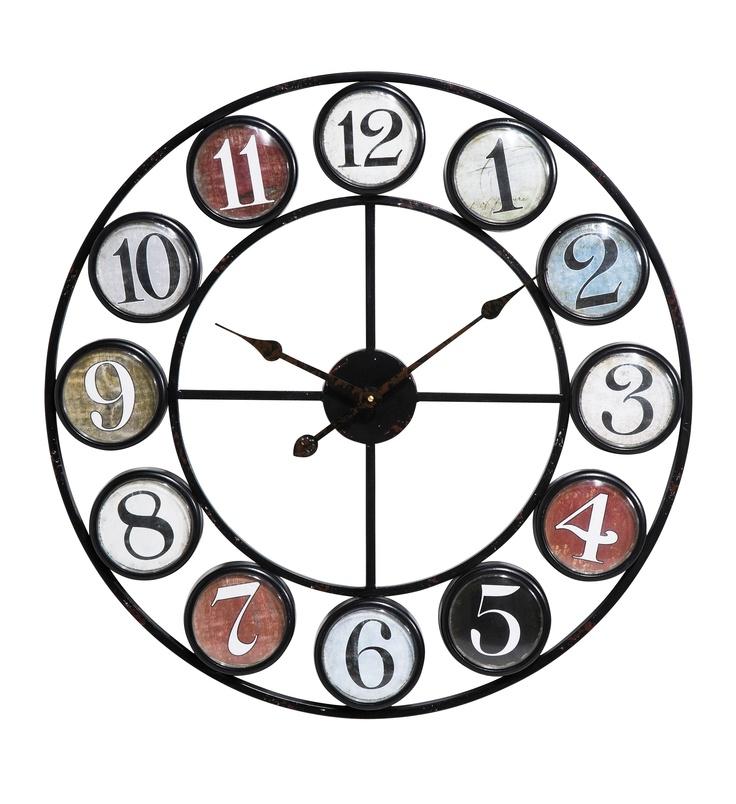KARE Design Wanduhr Vintage Coloure mit fröhlichen Kreisobjekten in einem Rahmen aus zwei konzentrischen Scheiben und zwölf kleineren Kreisen für jede Stunde sowie großen Ziffern in Schwarz oder Weiß. #KARE #KAREDesign
