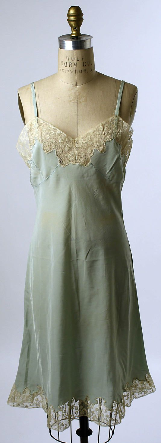 Slip, 1945, American, silk, cotton. I have one that is very similar in a champagne colored silk, and I absolutely love it. Found it at a thrift shop, repaired it, have worn it with my modern clothes for years. I'll never part with it!