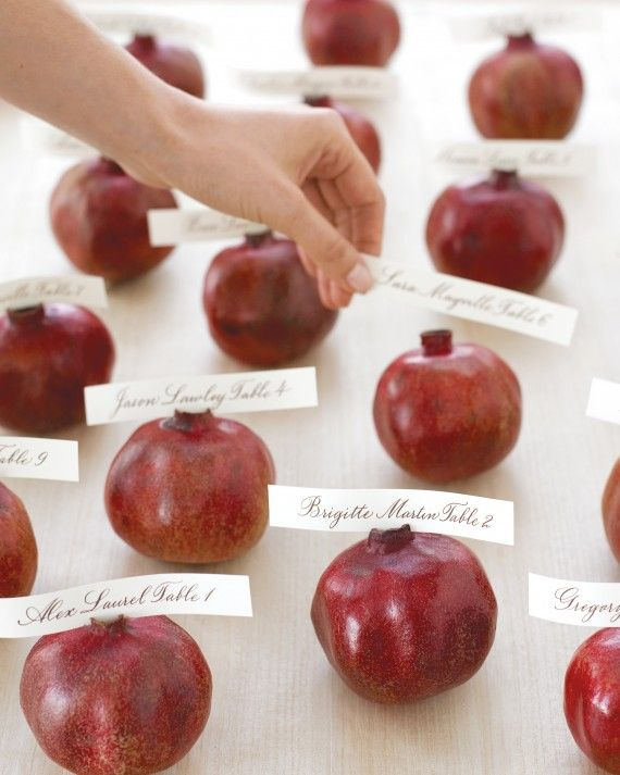 The seasonal ruby-red fruit was a symbol of eternity to the ancient Greeks, making it a fitting addition for any fall wedding. Place seating cards atop each one and organize them for a display that is striking and meaningful.