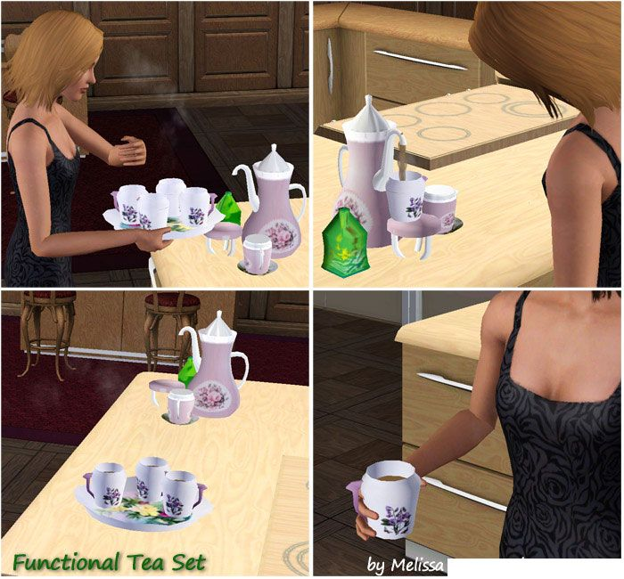 Mod The Sims - Functional Tea Set to warm up sims 3 game