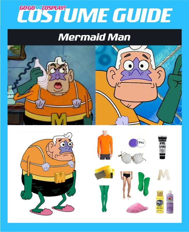 DIY Mermaid Man Costume Guide for cosplay or halloween #cosplay #mermaidman