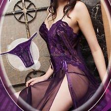 Luxury Sexy Womens Lingerie Lace Bridal Honeymoon Babydoll Sleepwear Mini Dress