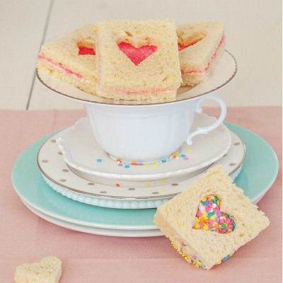 Fairy Bread Sandwiches! Aww, I grew up with these things. Also made using one slice of bread with sprinkles. Kids love them at birthday parties!
