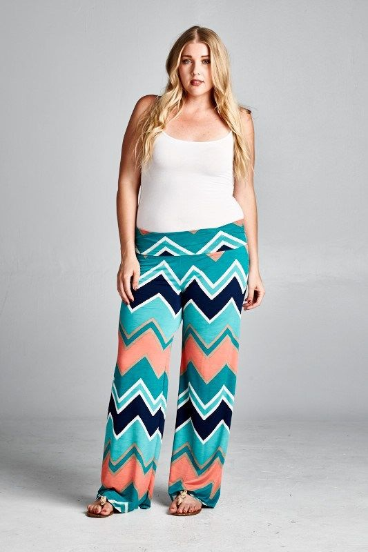 Online Clothing Boutique | Kelly Brett Boutique - Plus Size Chevron Palazzo Pants Jade, $32.00 (http://www.kellybrettboutique.com/plus-size-chevron-palazzo-pants-jade/)