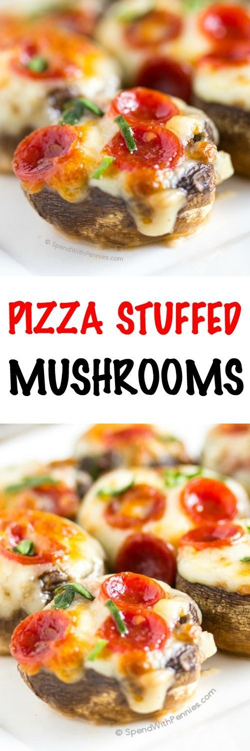 I LOVE these! Pizza Stuffed Mushrooms! Easy to make and loaded with real pizza flavor! These mushrooms are stuffed with garlic & pizza sauce and topped with pepperoni and gooey cheese! Naturally low carb and totally huge flavor!