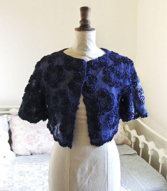 Vintage 1950s Navy Blue Lace Shrug Jacket