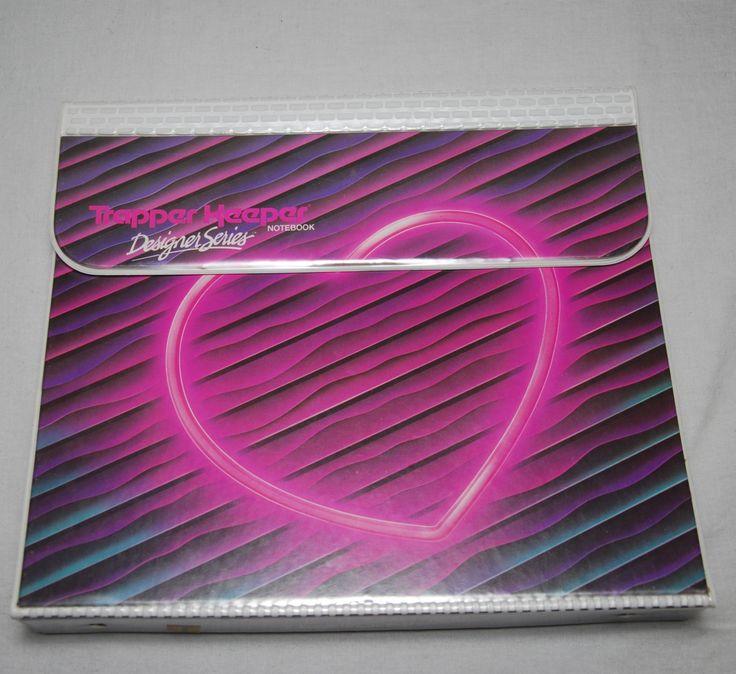 RADICAL Vintage 80s Neon Heart TRAPPER KEEPER. $24.50, via Etsy.