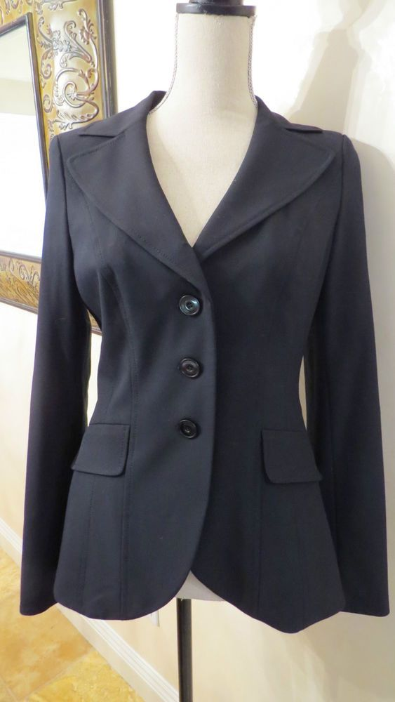 Semantiks Black Womans Lined Pant Suit with 3 Button Blazer 2PC, Size 4/6