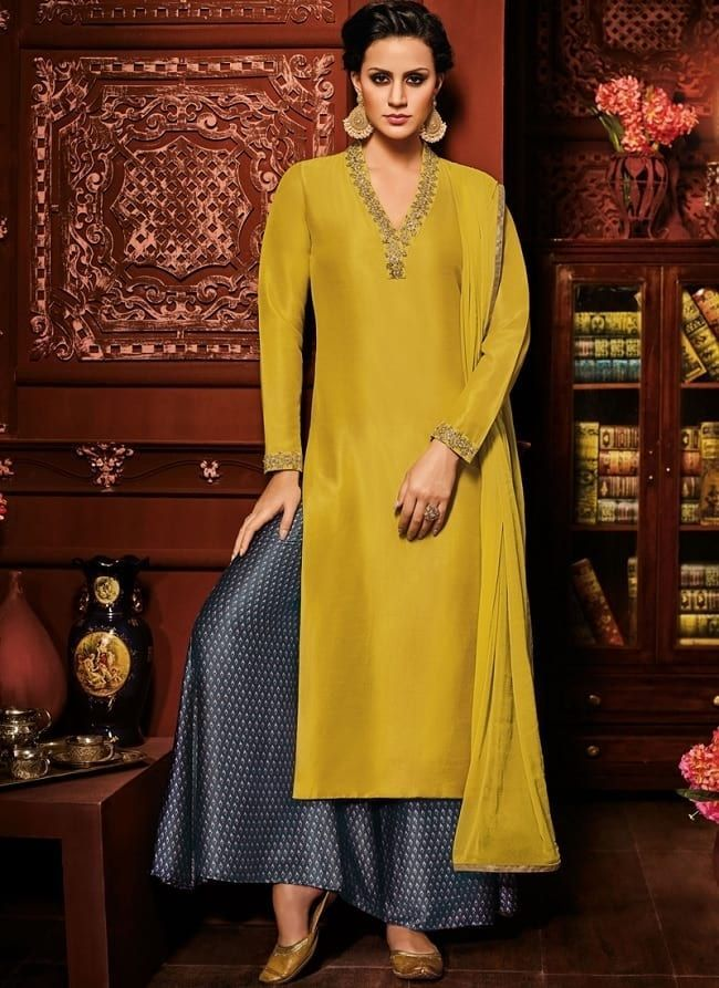 2e98a0ea01 mustard yellow solid & navy blue palazzo salwar suit   Indian wear ...