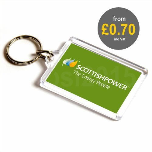 Clear plastic promotional keyrings from 70p