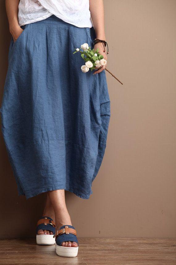 Linen Long Skirt Blue Women Clothing Maxi Skirt R by deboy2000