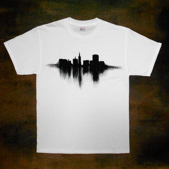 mens t shirt sf skyline hand painted made to by leftbraindead 3000 - T Shirt Design Ideas Pinterest