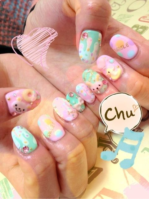 Super Adorable Pink and Blue Pastel Ice-Cream & Candy Teddy Bear, Duck, Bunny, & Bow Japanese Nail Art