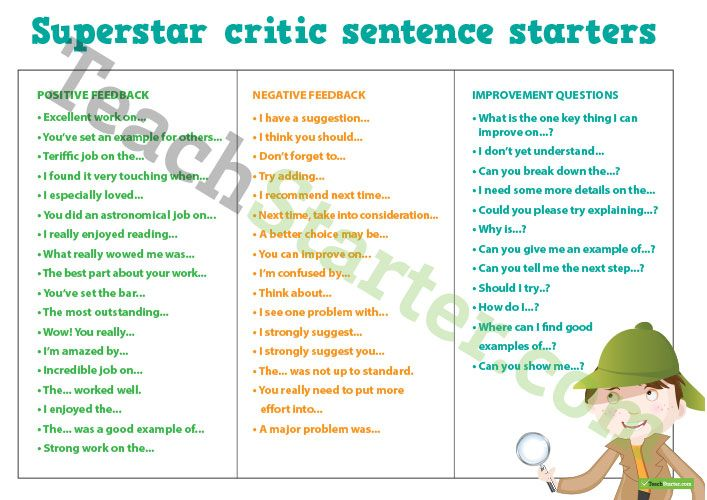 Teaching Resource: A set of sentence starters for students to use when giving feedback to their peers.