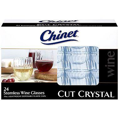 $6.76 Chinet Stemless Plastic Wine Glasses (24ct.)