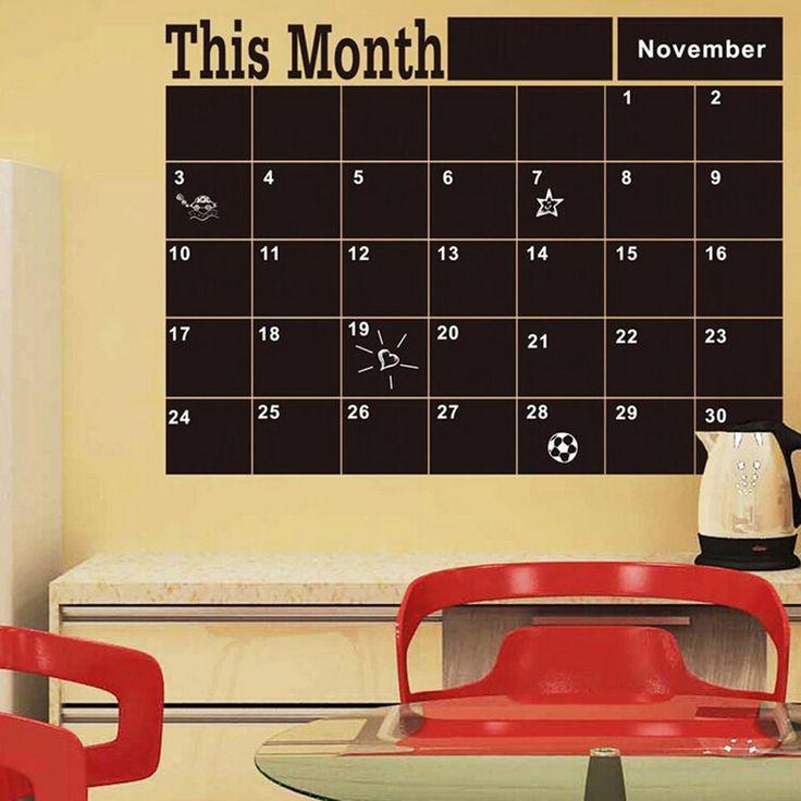 60*44 cm Blackboard Black Chalk Board Chalkboard Monthly Planner Sticker Schedule