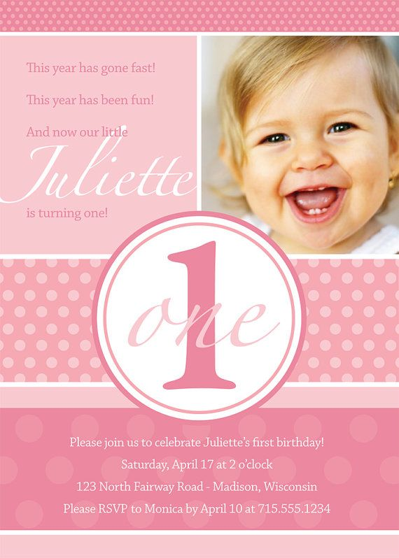 73 best Baby Girls First Birthday images – Custom First Birthday Invitations