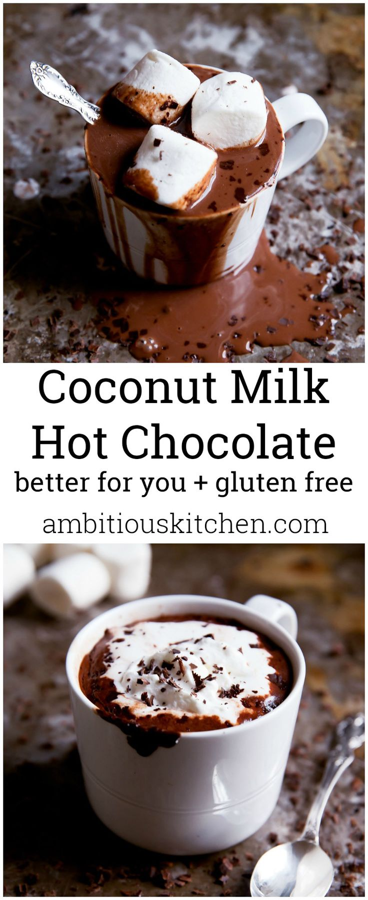 Creamy, thick hot chocolate made with coconut milk and dark chocolate. A better for you version made with real ingredients!