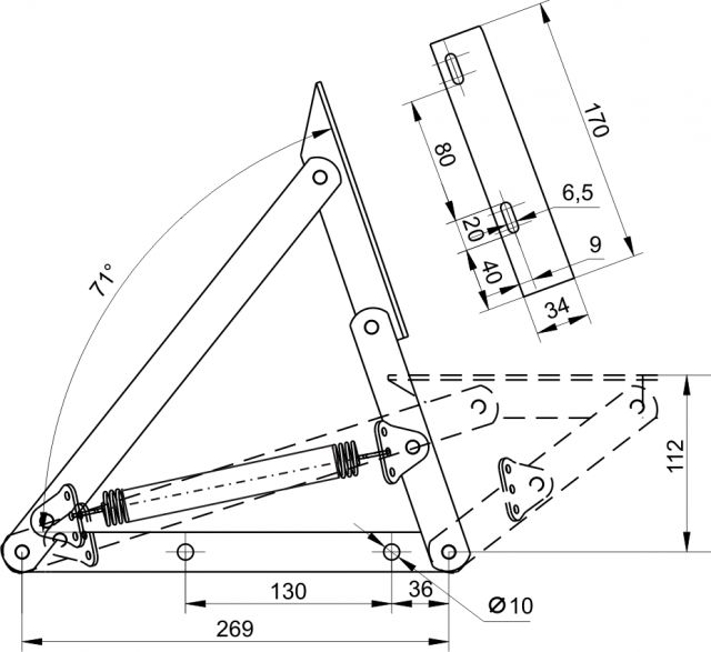 Механизм подъема матраца тахты 153