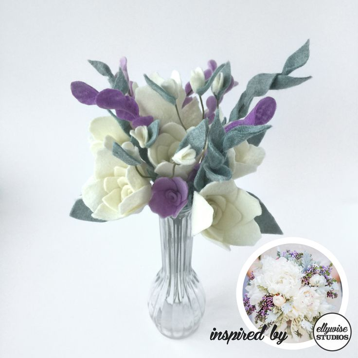 Mint lavender and cream roses rehearsal bouquet from Ellywise Studios felt flowers memphis wedding winter