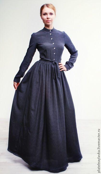 Шелковое платье в горошек - тёмно-синий,в горошек,платье в пол,платье в горошек