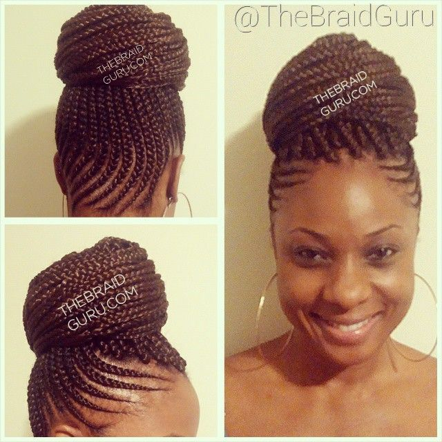 African twist braids in a bun