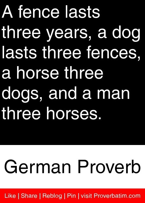 A fence lasts three years, a dog lasts three fences, a horse three dogs, and a man three horses. - German Proverb #proverbs #quotes
