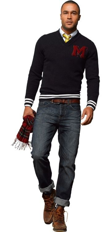 Dress in a black v-neck pullover and navy jeans to create a great weekend-ready look. Elevate this ensemble with brown leather casual boots. Shop this look on Lookastic: https://lookastic.com/men/looks/v-neck-sweater-dress-shirt-jeans/15486 — White Dress Shirt — Yellow Vertical Striped Tie — Black V-neck Sweater — Brown Leather Belt — Navy Jeans — Red Plaid Scarf — Brown Leather Casual Boots