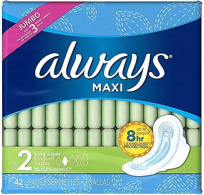 Sanitary Napkins: Always Maxi Super Absorbency Size 2 Long Pads With Wings, Unscented 42 Ea (3Pk) -> BUY IT NOW ONLY: $40.43 on eBay!