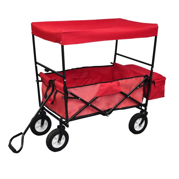Folding Collapsible Utility Wagon Roof Garden Cart Shopping Buggy Yard Sports  #UNBRANDED