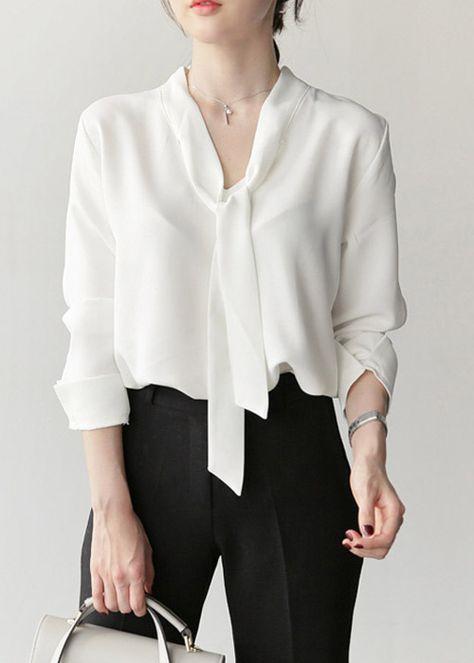 c5873a8f27 Blusa Chiffon Camisa com Laço no Decote Moda Evangélica | roupas ...