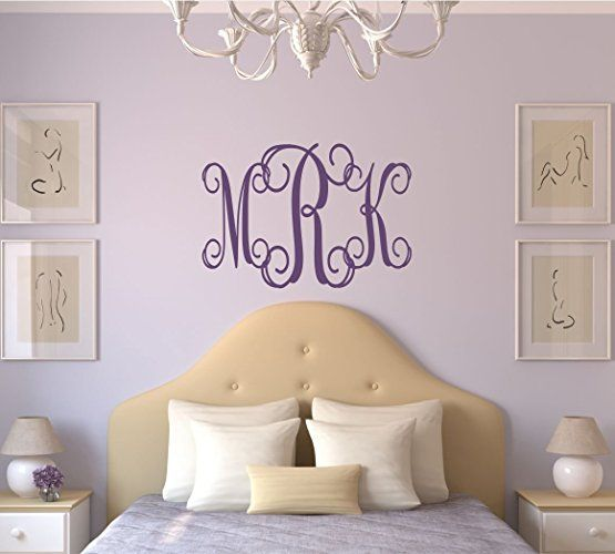 Personalize your space with an elegant monogram decals from LucyLews Vinyl Wall Decals are removable without damaging you wall and available in a variety of colors and styles.