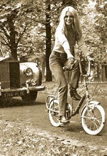 Brigitte Bardot on a Graziella folding bike 1966