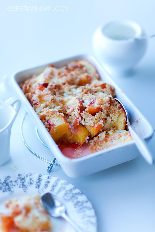 Peaches Baked with Coconut White Chocolate Crumble