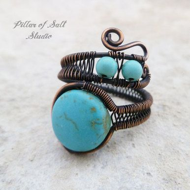 Turquoise Magnesite adjustable wire wrapped ring