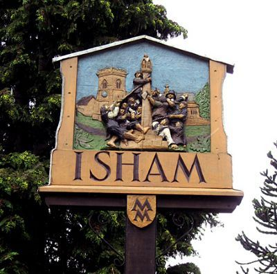 ENGLISH VILLAGE SIGNS | Isham, Northamptonshire.