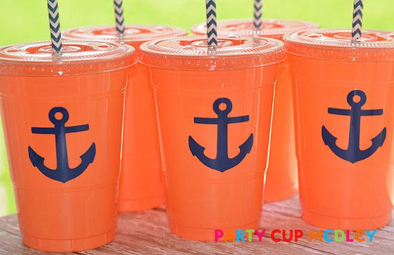 Nautical Party CupsAnchors Party CupsSet of 10 by PartyCupMedley