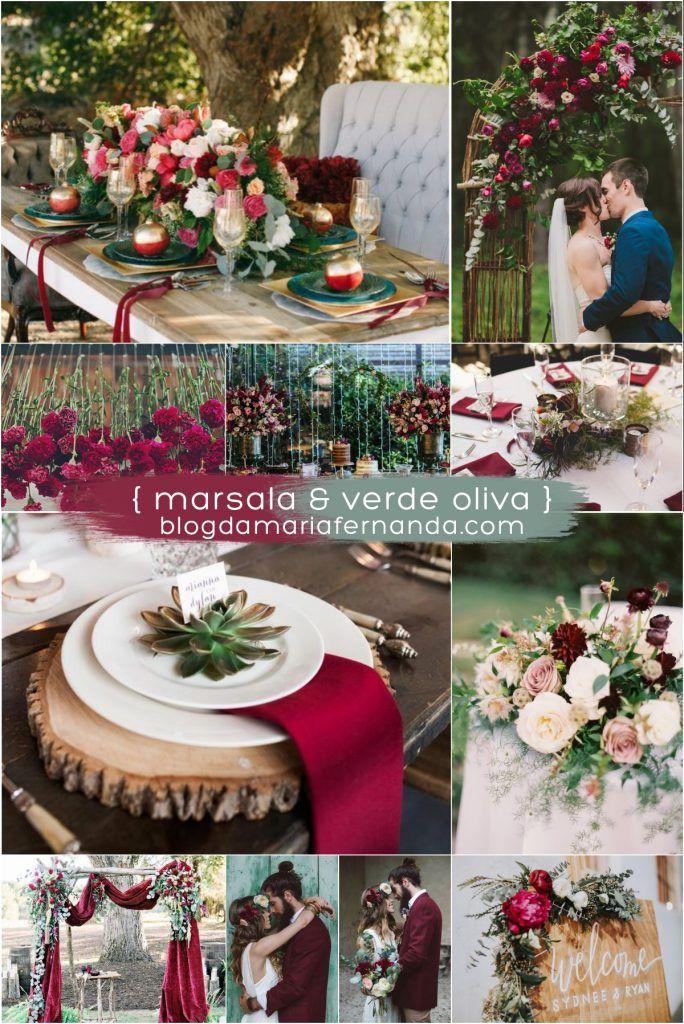 Decoração de Casamento : Paleta de Cores Marsala e Verde Oliva