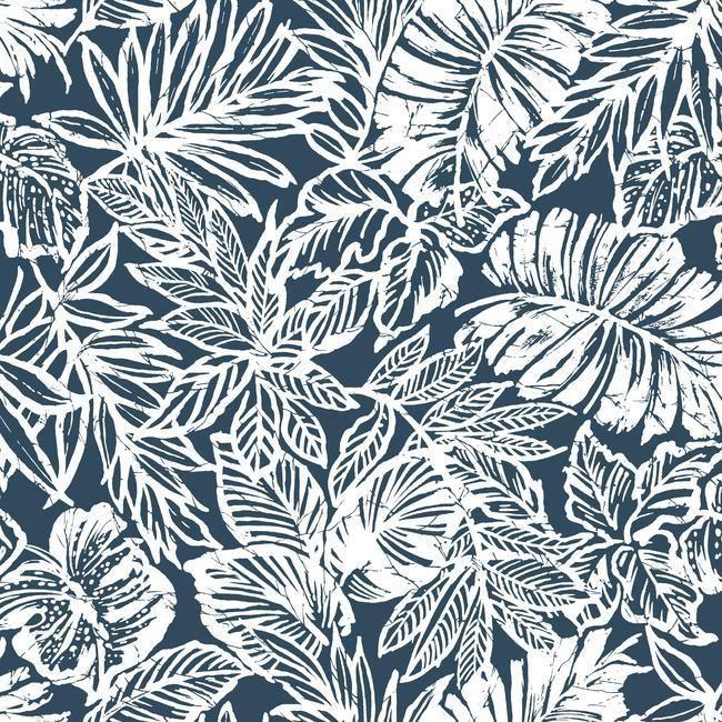 Batik Tropical Leaf Peel Stick Wallpaper In Blue By Roommates For Yo Peelable Wallpaper Peel And Stick Wallpaper Leaf Wallpaper