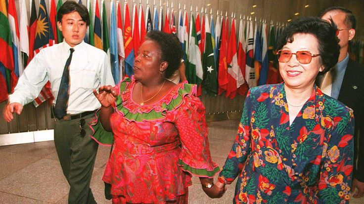 Gertrude Mongella at the UN's Fourth World Conference on Women in 1995