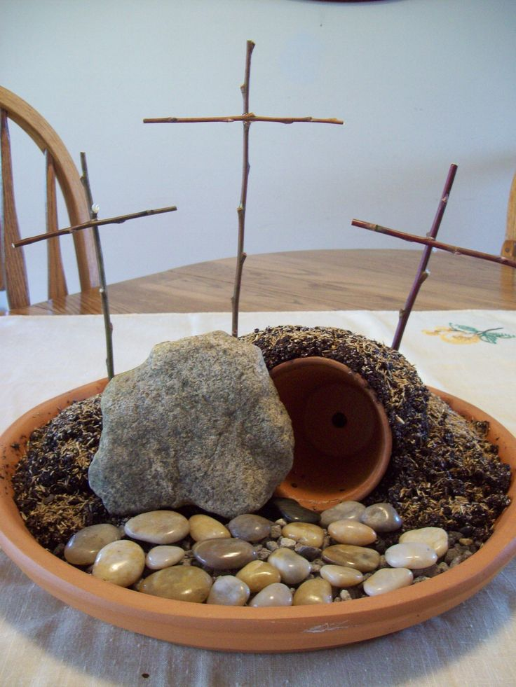 I did this last year with the kids...we put grass seeds and watched it grow through Lent season. Cute project. Also, was a nice centerpiece on our table.