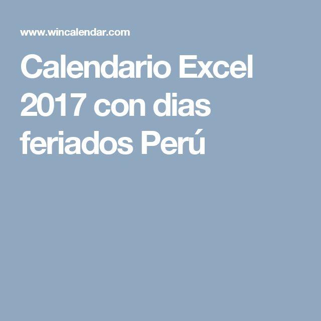 Calendario Excel 2017 con dias feriados Perú
