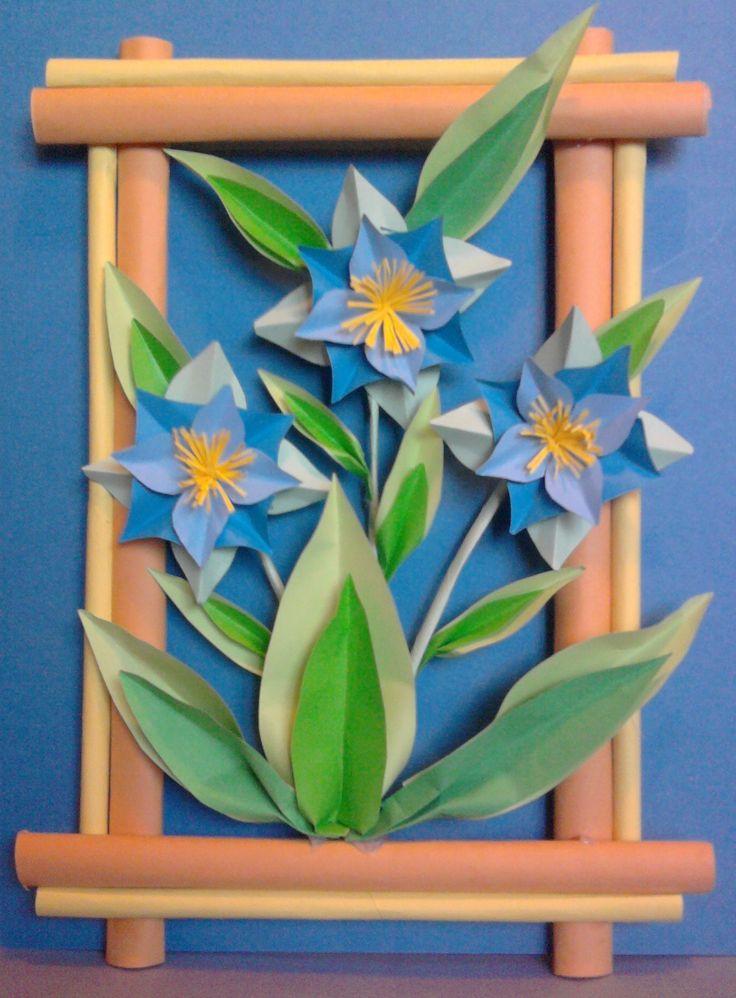 Kwiaty z papieru, ikebana, prace plastyczne, Dariusz Żołyński, flowers paper,   paper  flowers, orgiami, kirigami, wycinanki z papieru